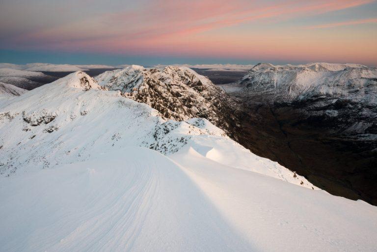 Aonach Eagach Ridge, Glen Coe at Sunset by Photographer Ed Smith