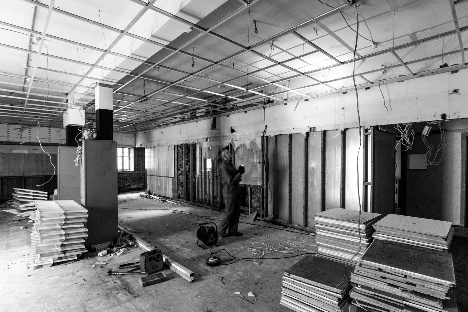 Image of the old Co-Op mid transformation into the gallery